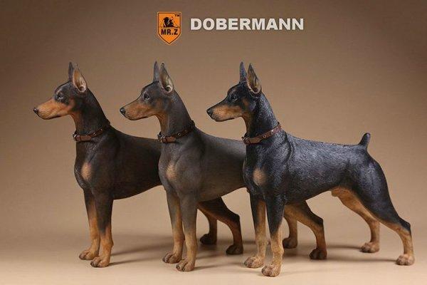 画像1: Mr.Z 1/6 ドーベルマン 3種 カラー選べます 動物 置物 フィギュア (1)